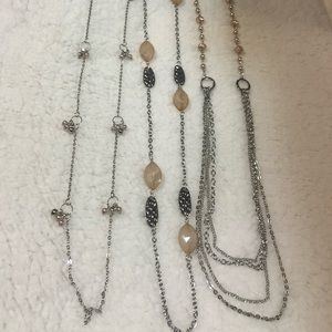 Long silver neutral necklaces